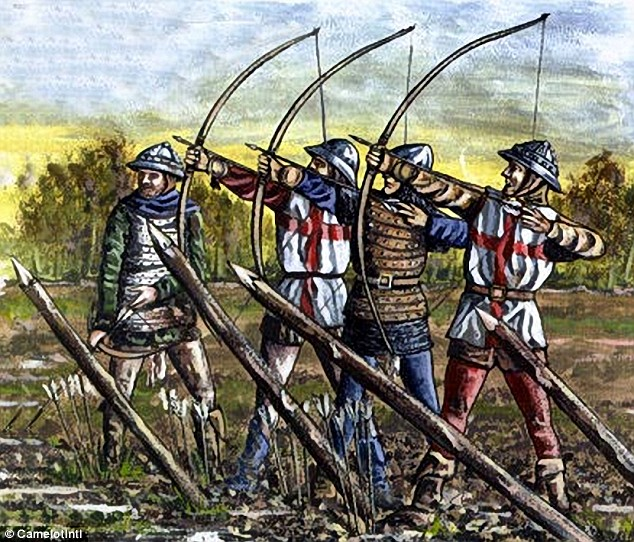 Image of 4 longbowmen firing beside sharpened stakes upended at an angle to form a defence