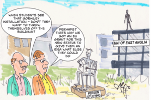 Cartoon - University of East Anglia sculptures with academics commenting on consequences
