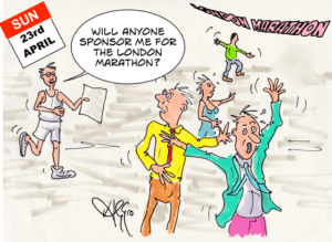 Cartoon - Marathon runner solicits donations to horror of friends