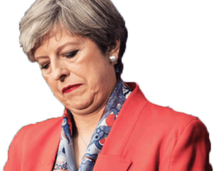 Theresa May looks downcast in a snappy red jacket