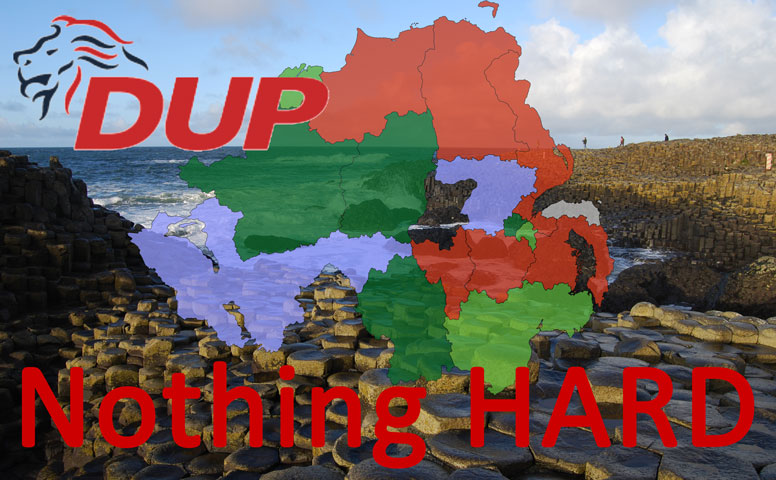 """Giant's causeway with Northern Ireland map on top of it and DUP logo with the words """"Nothing Hard"""""""