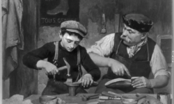 Black and white of French Cobbler's Apprentice in the 19th Century with his master